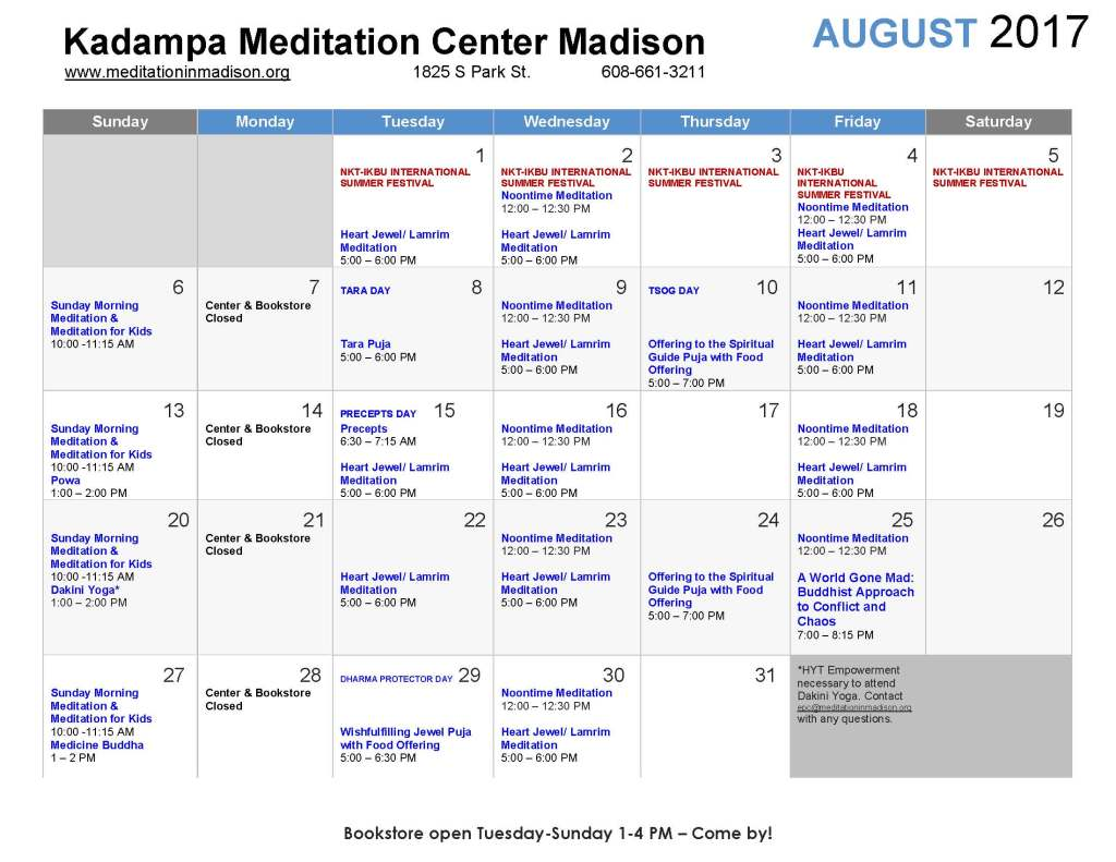August 2017 Calendar
